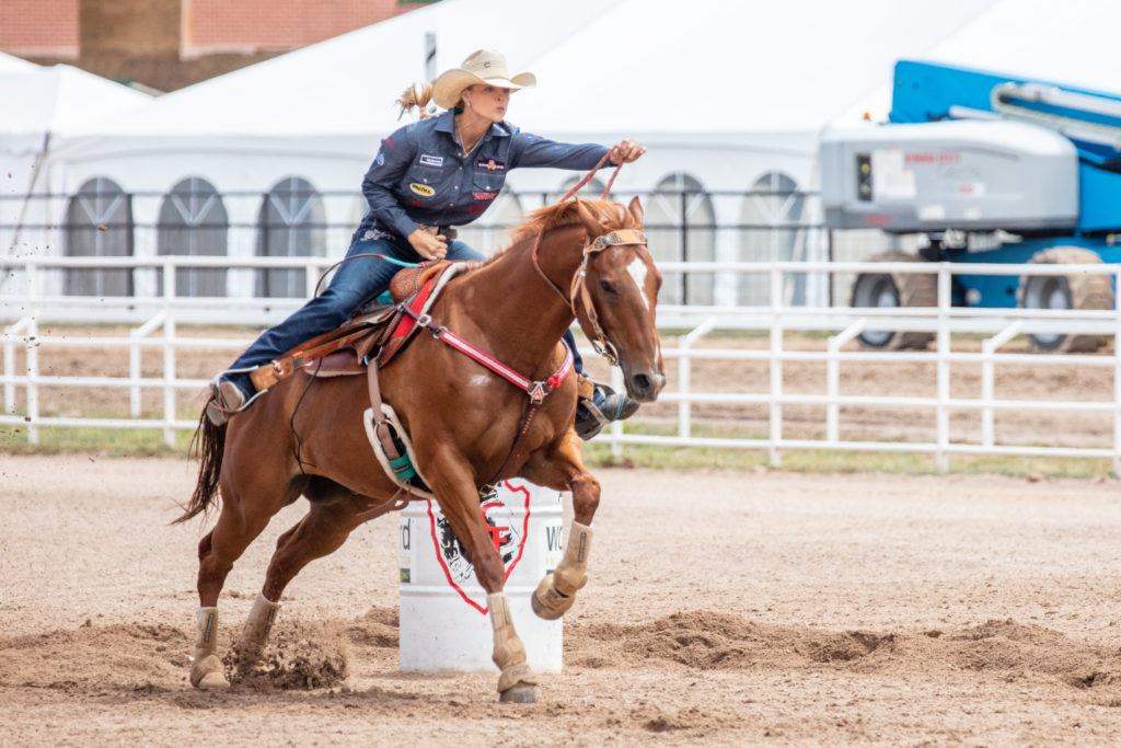Sarah Rose McDonald barrel racing at Cheyenne Fronter Days in Cheyenne, Wyoming.